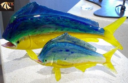Yellow And Blue Murano Glass Lovely Fish