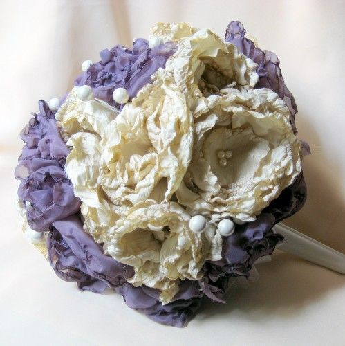 Handmade Beige and Purple Bridal Bouquet | teddiart - Wedding on ArtFire