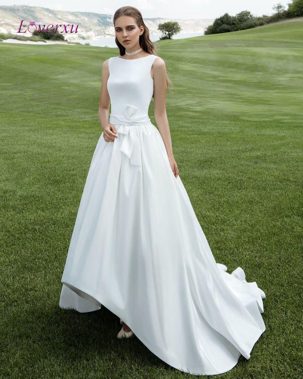 Loverxu fashionable matte satin high low wedding dresses luxury