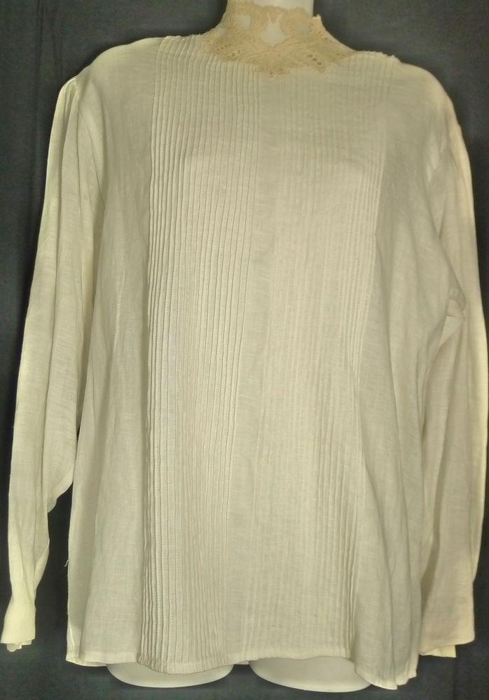 Ellen Tracy Ivory Victorian Style Blouse Lace & Pintucks 100% Linen 12 Hong Kong #EllenTracy #Blouse #EveningOccasion