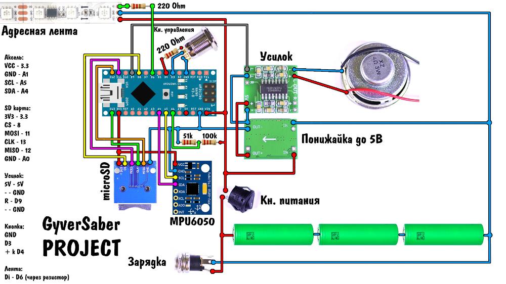 GitHub - AlexGyver/GyverSaber: Световой меч на Arduino #logicboard