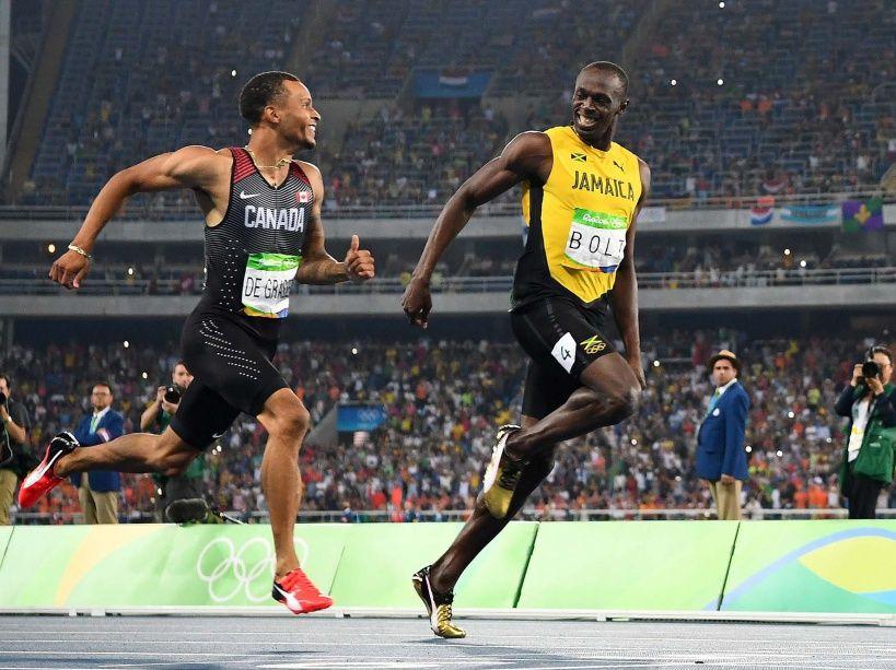 PHOTOS. Usain Bolt et Andre de Grasse terminent leur