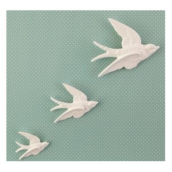 Sass belle set of 3 flying swallow ceramic wall decorations sass belle from