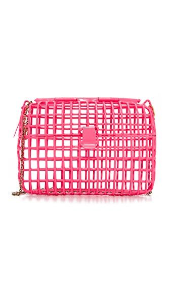 Get this ANNDRA NEEN's clucth now! Click for more details. Worldwide shipping. Anndra Neen Color Cage Bag: Colorful powder coats the metal bars of this open Anndra Neen cage clutch. A hinged-snap closure secures the front flap. Optional chain strap. Dust bag included. Weight: 13oz / 0.37kg. Imported, Mexico. Measurements Height: 5.25in / 13.5cm Length: 7in / 18cm Depth: 1.5in / 4cm Strap drop: 20in / 51cm (bolso de mano, sobre, clutch, clutches, clutchs, handbag, printed clutch, handtasche…