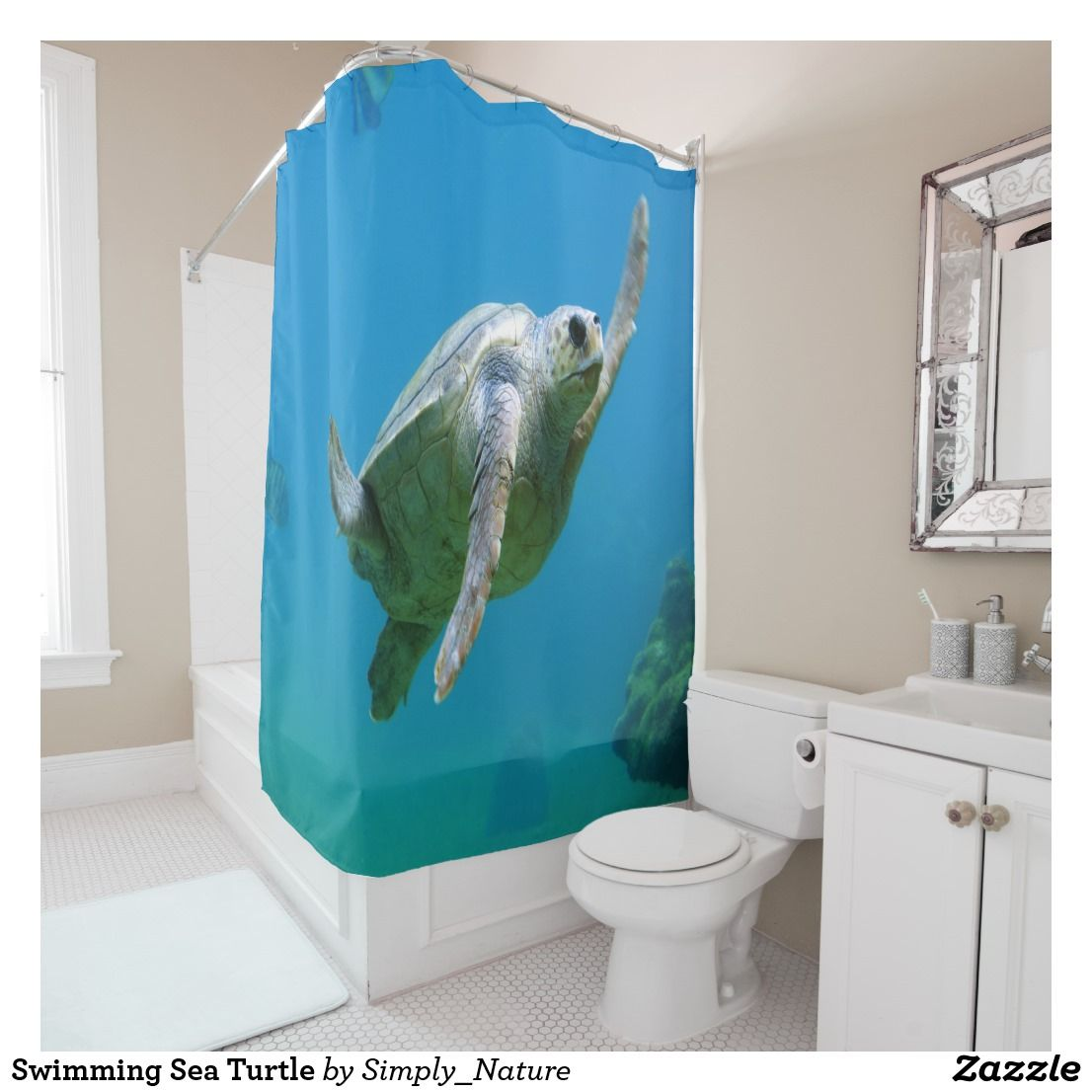 Home interior endangered species swimming sea turtle shower curtain  bed and bath shopping