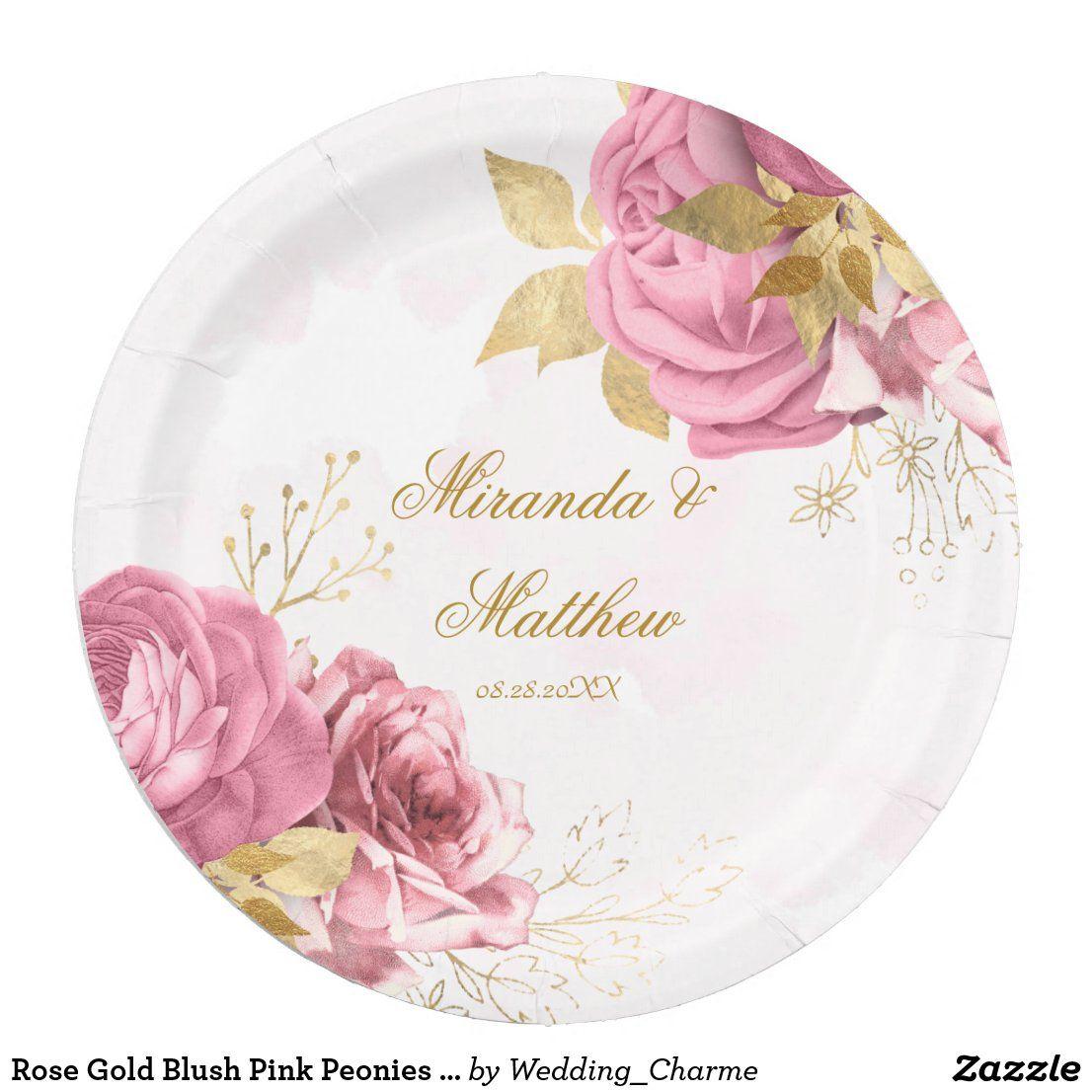 Rose Gold Blush Pink Peonies Wedding Paper Plate