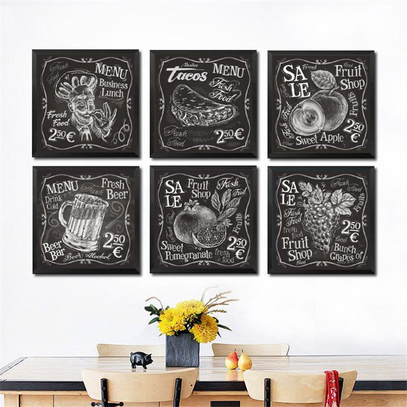 Coffee Wine Bread Kitchen Poster Black White Drink Food Canvas Print Wall Art Painting Picture Dining Room Restaurant Decoration Cafe