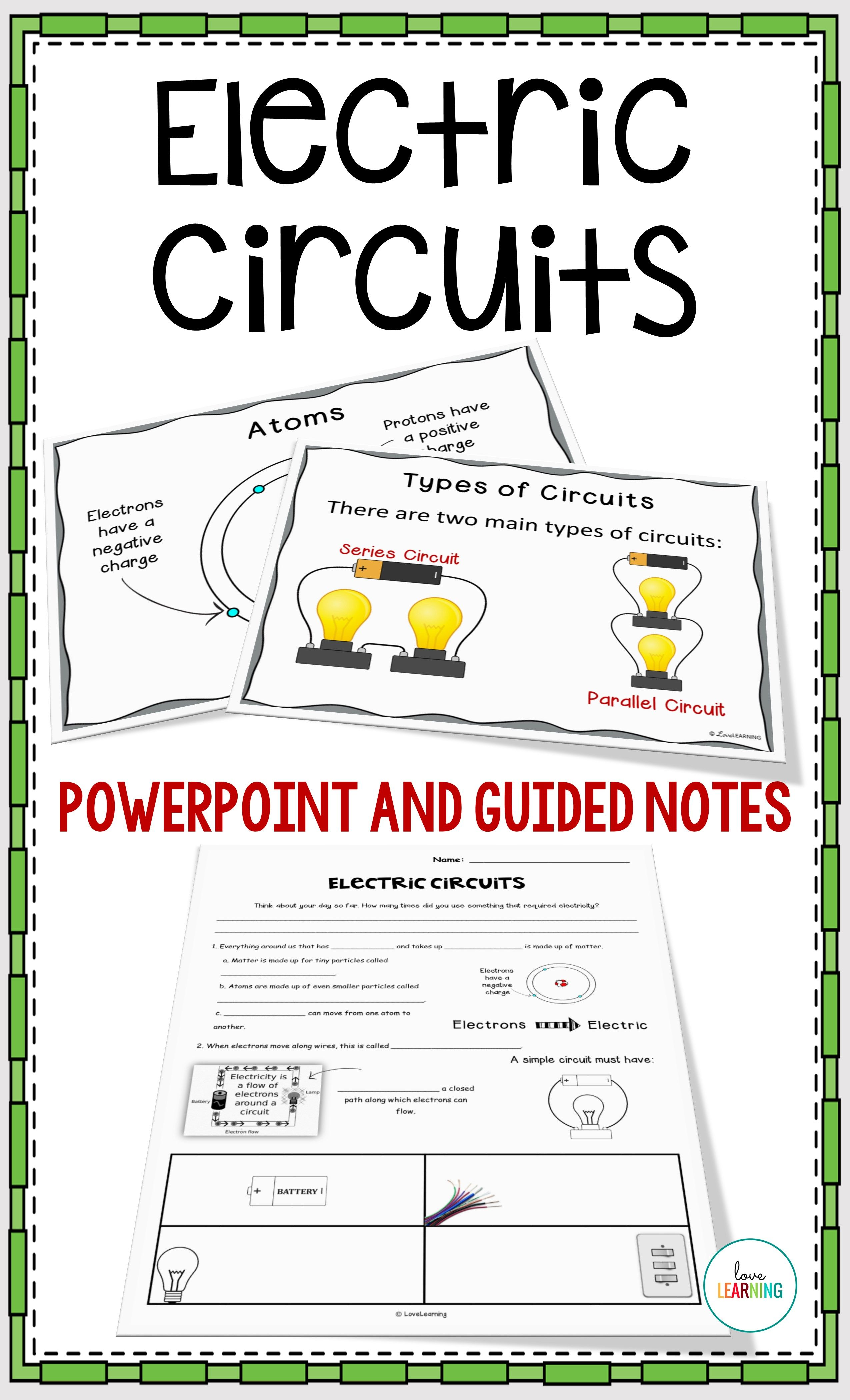 electric circuits powerpoint lesson guided notes lab and video