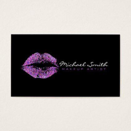 Makeup Artist Stylish Multicolor Glitter Lips 12 Business Card