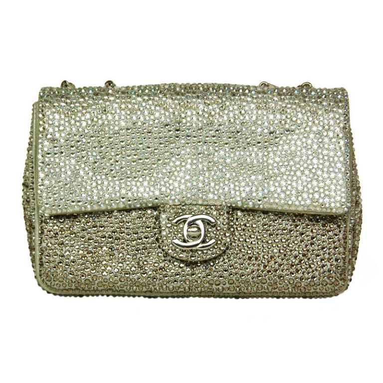 8ca25be76e3b92 CHANEL Ombre Silver Strass Crystal Classic Mini Flap Bag | 1stdibs.com  #1stdibsHoliday