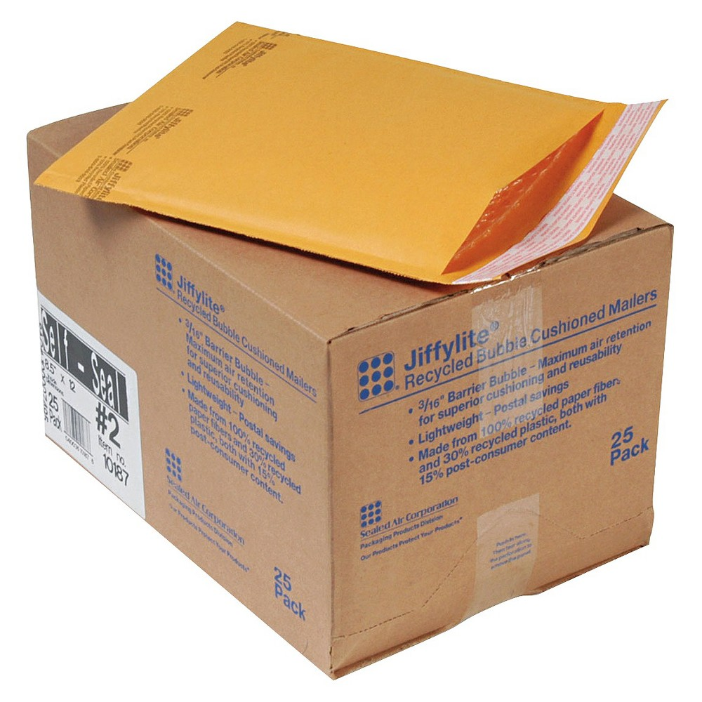 25 Pack #0 Jiffylite Sealed Air Bubble Mailer Shipping Envelopes