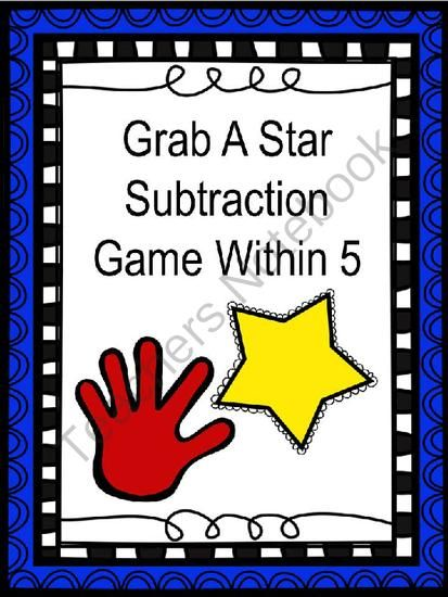 Grab A Star Subtraction from NVW on TeachersNotebook.com -  (15 pages)  - Subtraction from 5 game and worksheet