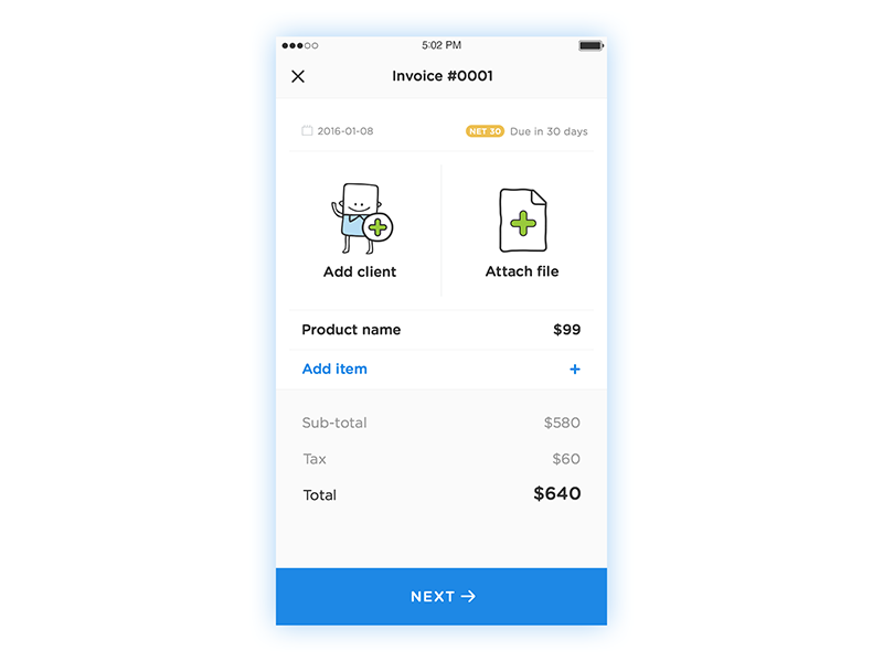 Send Invoice Screen For Viewposts Mobile App By Serge Vasil - Send invoice app
