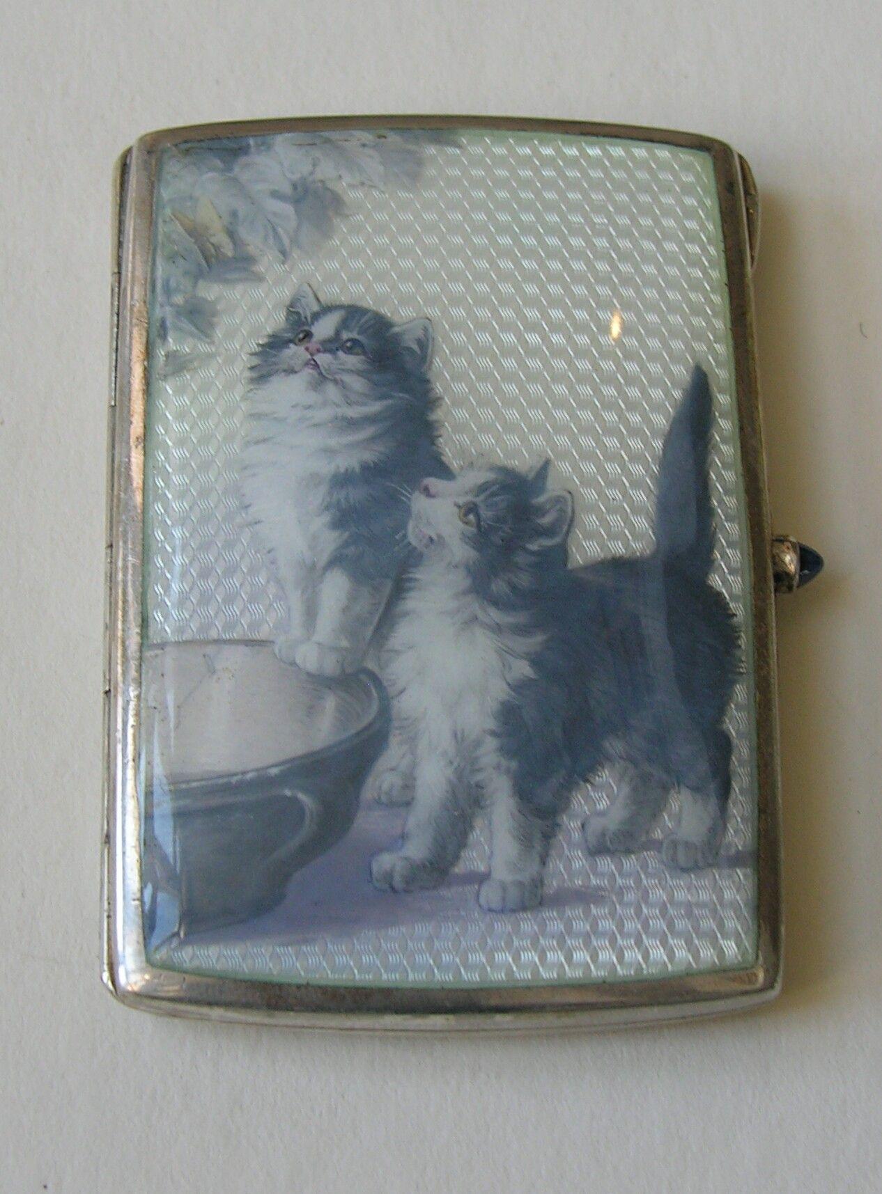 Louis Kuppenheim Enameled Cats Butterfly 900 Silver Case Mit Bildern Schatulle Etui Silber