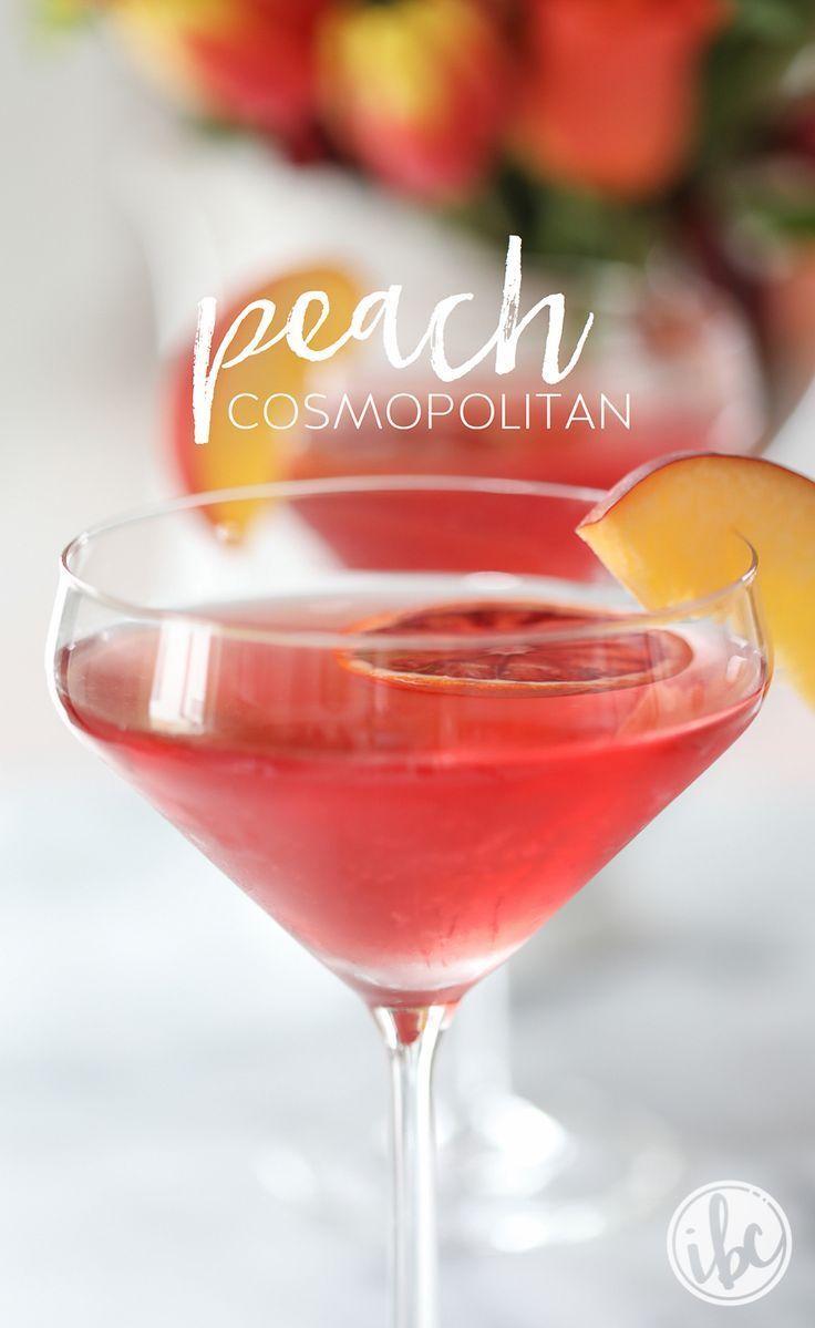 A delcious Peach Cosmopolitan recipe #cocktail #peach #martini #cosmo