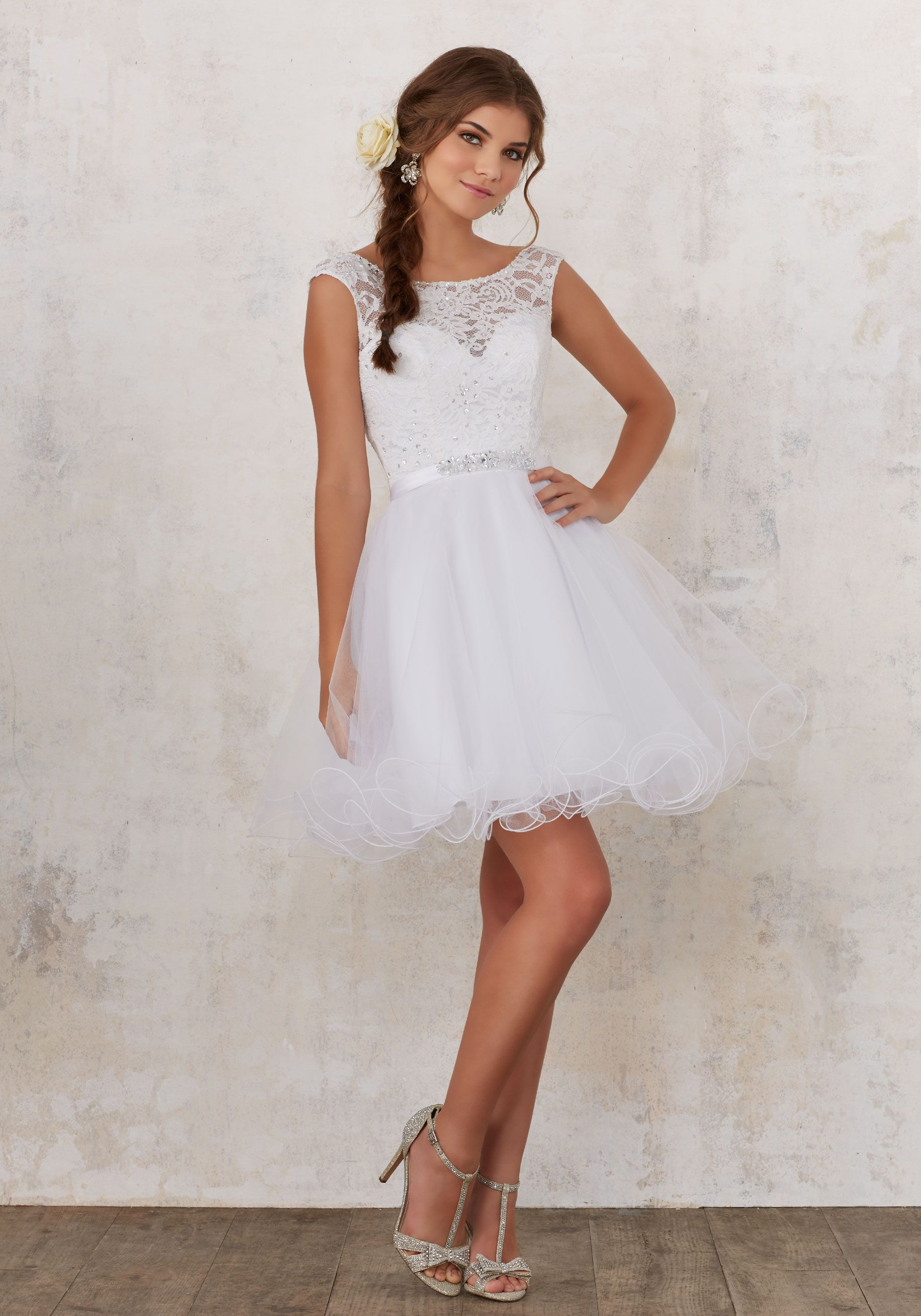 adcf6bcf2fd Lace and Tulle Damas Dress with Beading