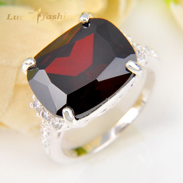 Buy now Promotion Jewelry Luckyshine Precious Fire Garnet White CZ