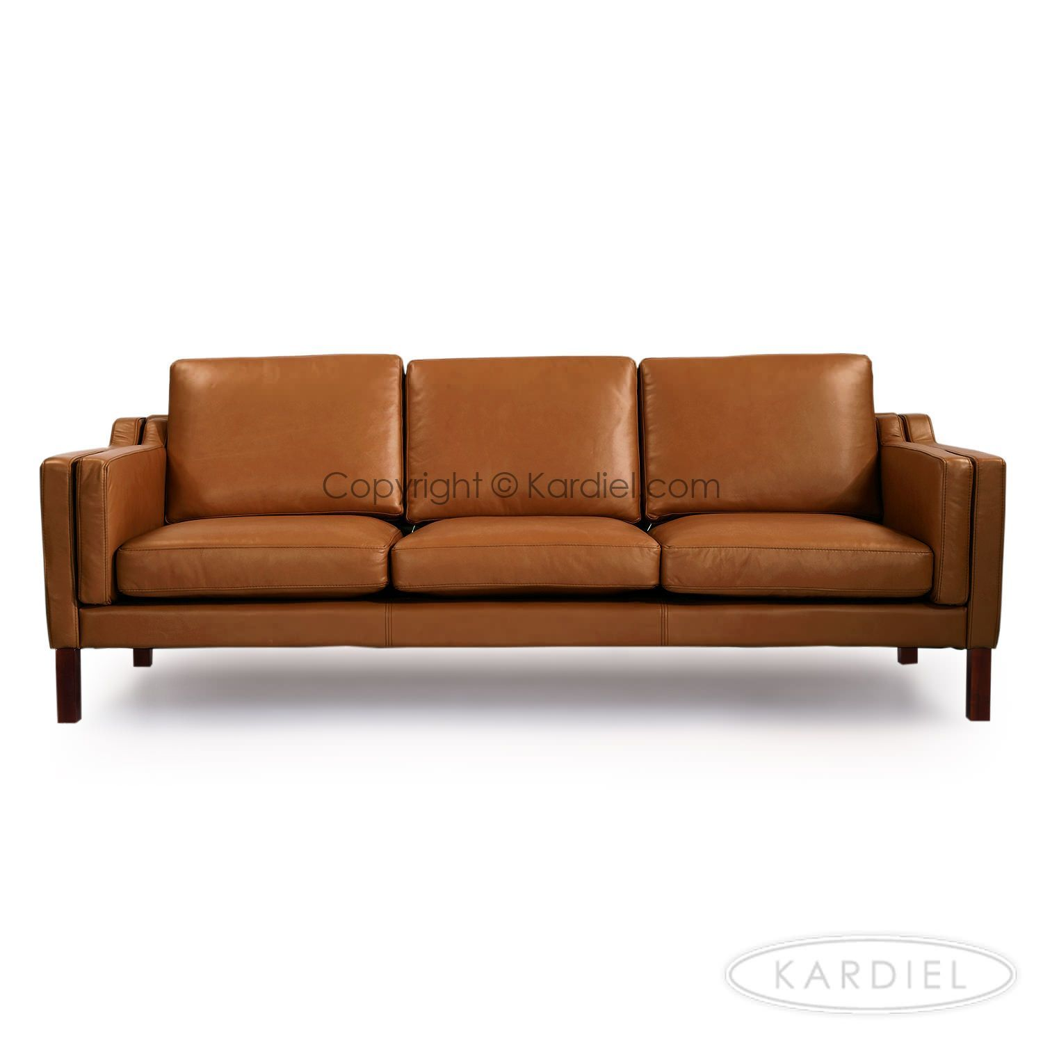 Monroe Mid Century Modern Leather Sofa