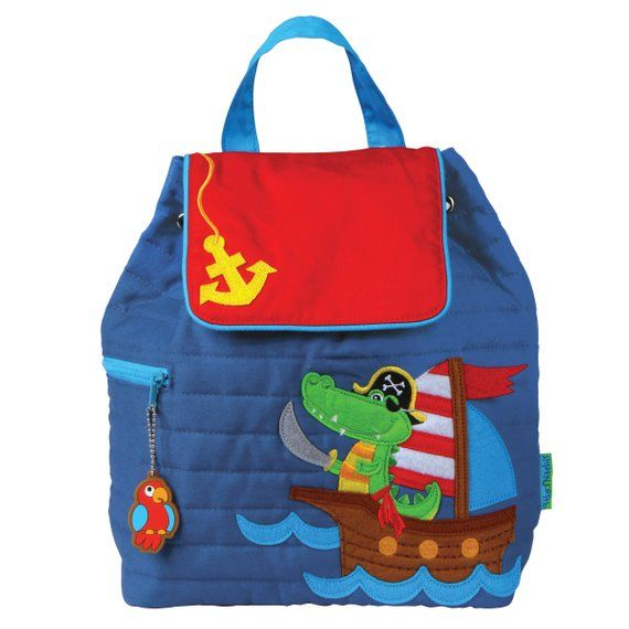 Toddler Stephen Joseph Quilted Pirate Backpack, Personalized Children s  Backpack, Kids Backpack, Monogrammed Diaper Bag. 38aaf8910f