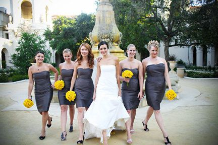 Miss Ruby Bridal Boutique Gallery Charcoal Grey Bridesmaid Dresses With Pops Of Yel With Images Charcoal Grey Bridesmaid Dresses Grey Bridesmaid Dresses Bridal Boutique