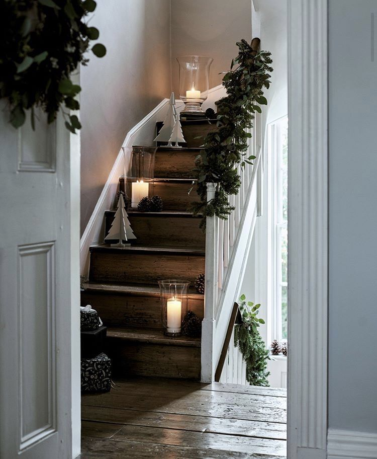 stairs with candles and greenery // fort & field