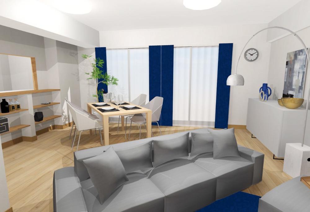 広い空間を大胆に使い シンプルな家具に対して配置を工夫することで 少し変わった印象を与えるお部屋にしました 掃除がしやすい よう 造りがシンプルな家具を選定しております キッチン ダイニング リビングそれぞれを分けて考えるのではなく ひとつな