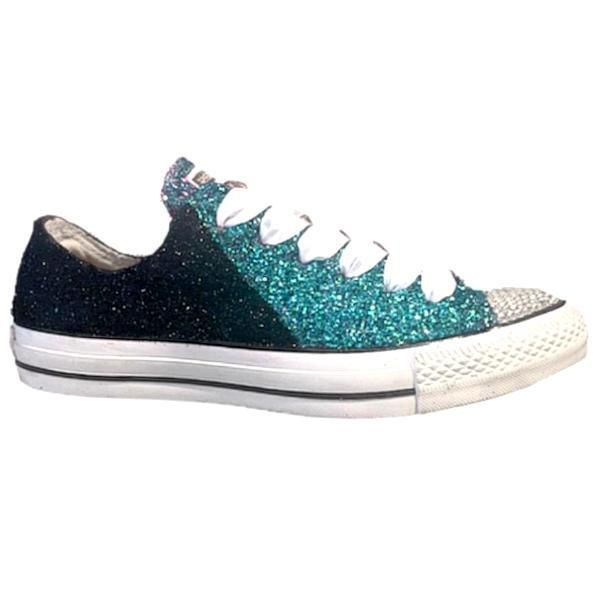 best sneakers 6b66d c5970 Womens Converse All Star Glitter Sneakers Team Spirit Football Sports  Shoes Black Teal Green - GLITTER SHOE CO GlitterShoes