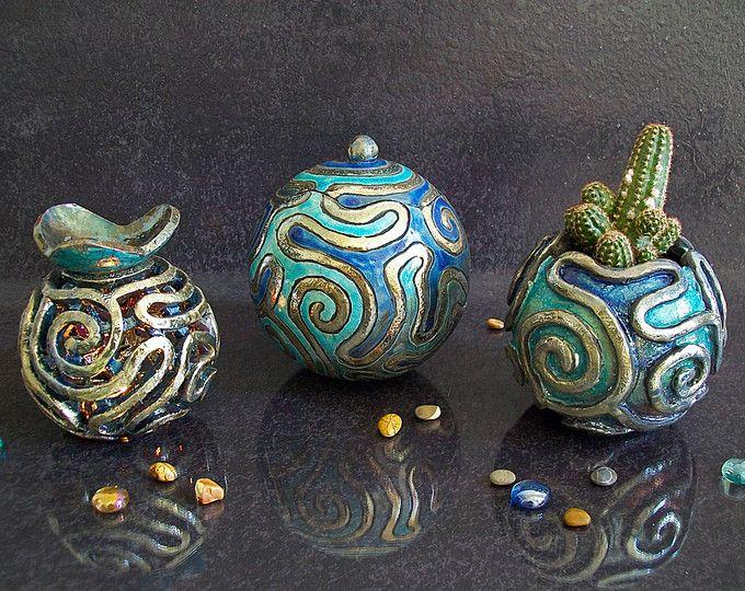 Bijoux Coffret Essentielles Huiles Diffuseur Fleur Pot Bleu Raku