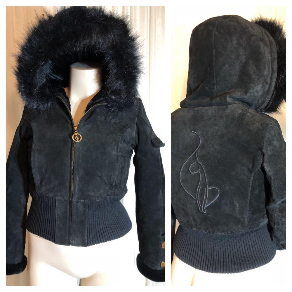 12117bc31 Baby Phat Women s Medium Black Suede Jacket Faux Fur  BabyPhat ...