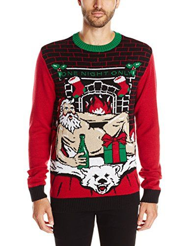 8b71bcc9907 Ugly Christmas Sweater Men s Romantic Santa Light-Up