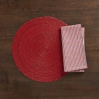 Tropical Palm Red Placemat And Seersucker Red Napkin · SeersuckerTable  LinensTablematNapkinTropical