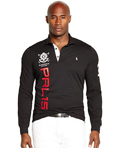 Polo Ralph Lauren Mens Big and Tall Black Watch Long Sleeve Mesh Polo Shirt  2XLT Polo Black *** Visit the image link more details.