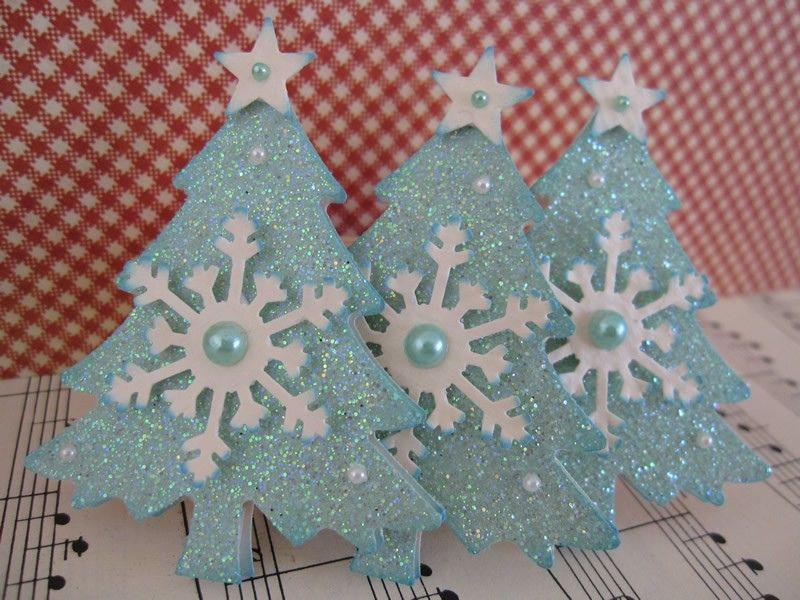 Blue Glittery Christmas Trees | by vsroses.com