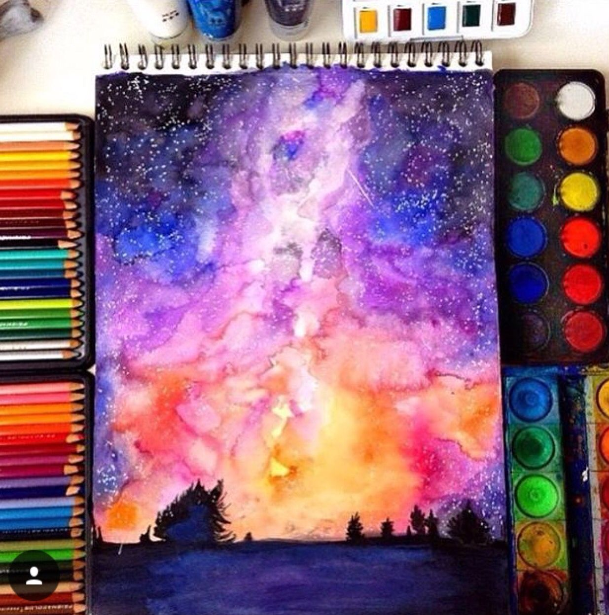 Amazing Watercolour Of The Night Sky Colorful Art Watercolor