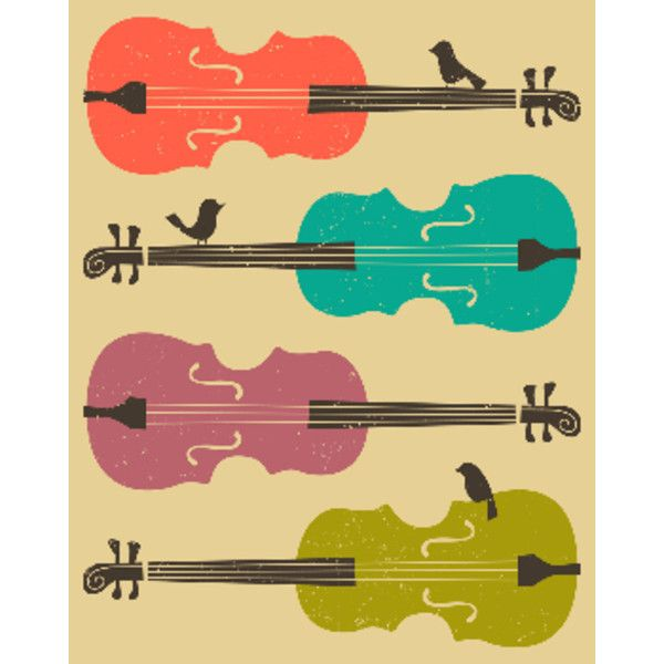 Birds On A Cello String Music A1 Framed Print ($155) ❤ liked on ...