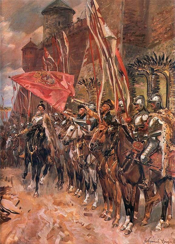 Battle of Zbaraz 1649 - Polish Army leaving the fortress of Zbaraz with Hetman Zolkiewski, by Wojciech Kossak.
