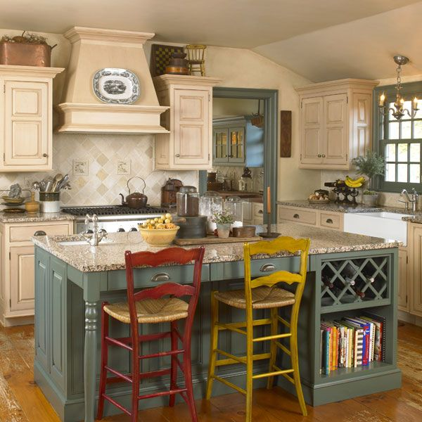 Mismatched Kitchen Cabinets: Like The Island With Wine Rack, Cookbook Shelving, And