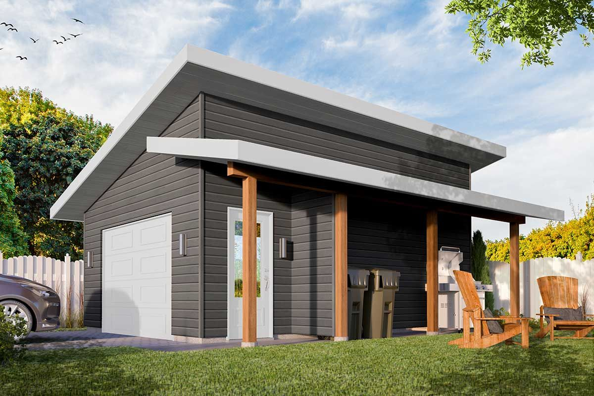Plan 22527dr Modern Detached Garage Plan With Shed Roof Porch Garage Plan Shed With Porch Shed Roof