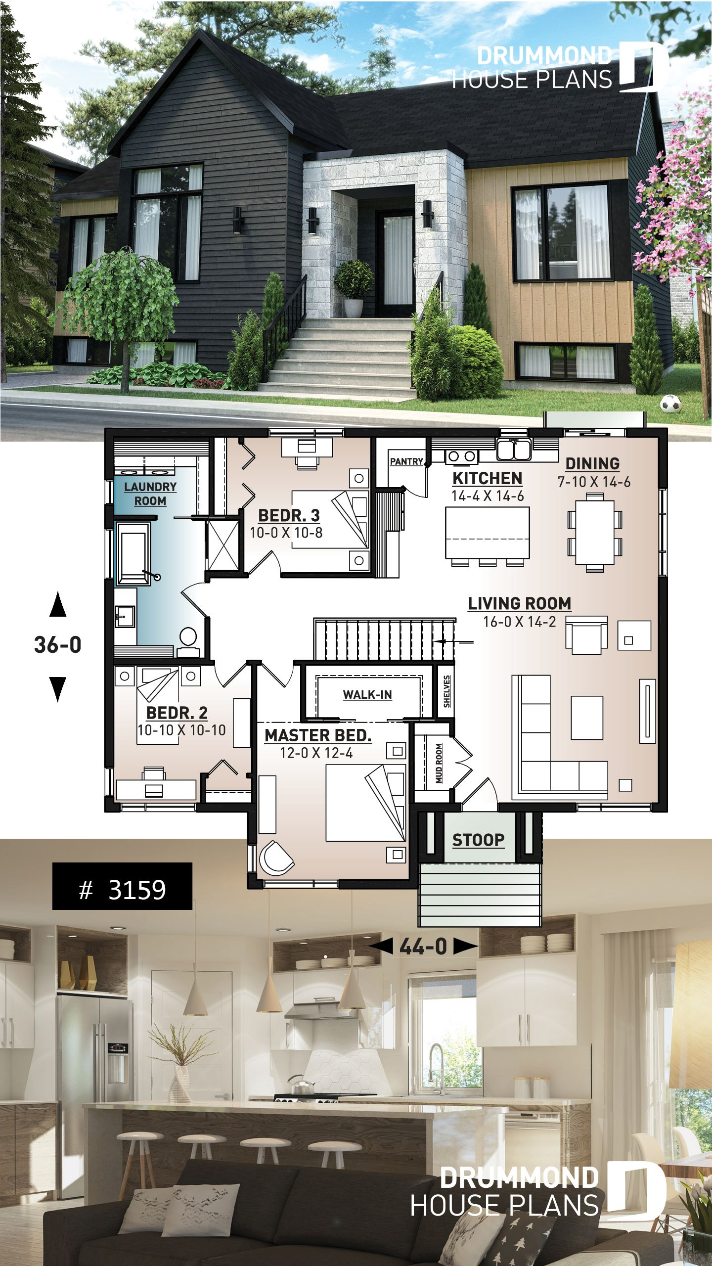 Discover The Plan 3159 Scandia Which Will Please You For Its 3 Bedrooms And For Its Scandinavian Styles In 2020 Modern House Plan House Blueprints House Plans