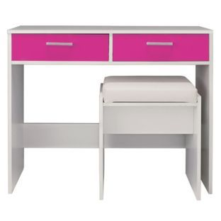 Buy New Sywell Dressing Table And Stool White And Pink Gloss At - White dressing table argos