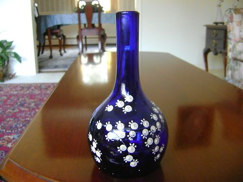 COBALT BLUE LILLIES OF THE VALLEY BARBER BOTTLE - 1800'S - BEAUTIFUL