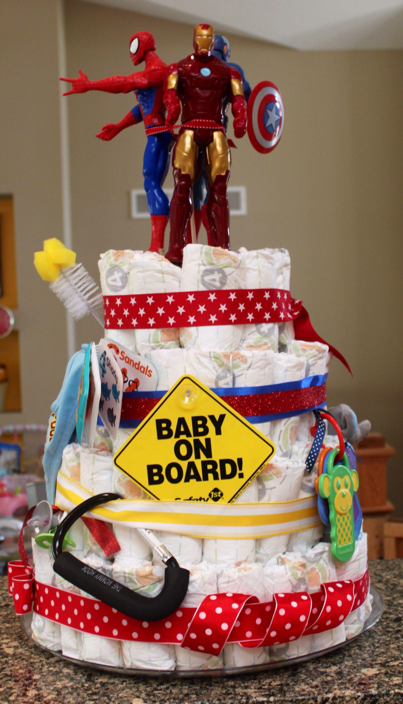 Super Hero Diaper Cake Super Hero Baby Shower