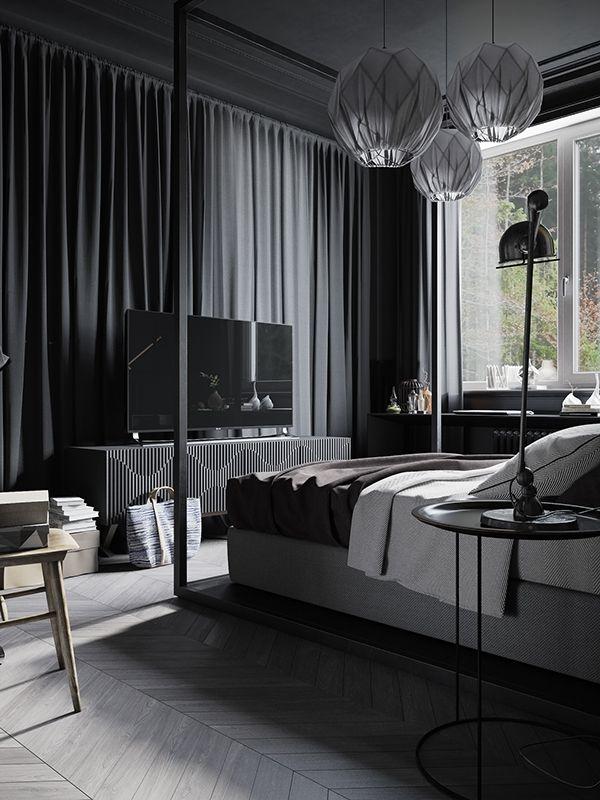 Dark And Moody Modern Industrial Apartment In Russia Modern Bedroom Furniture Modern Bedroom Minimalism Interior