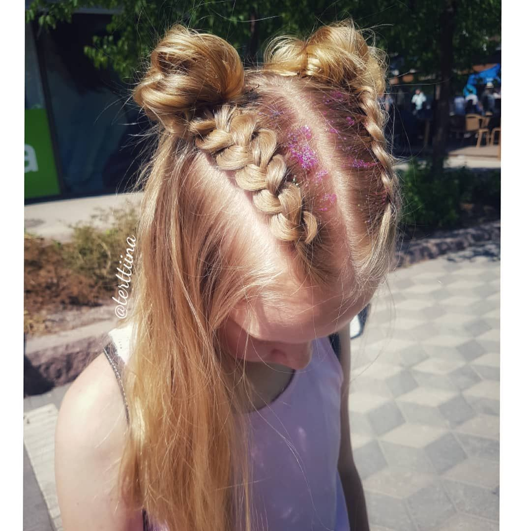 Dutch Braids Into Messy Space Buns And Some Glitter This Was One Of The Popular Styles At The Pop Up B Braided Hairstyles Box Braids Hairstyles Dutch Braid