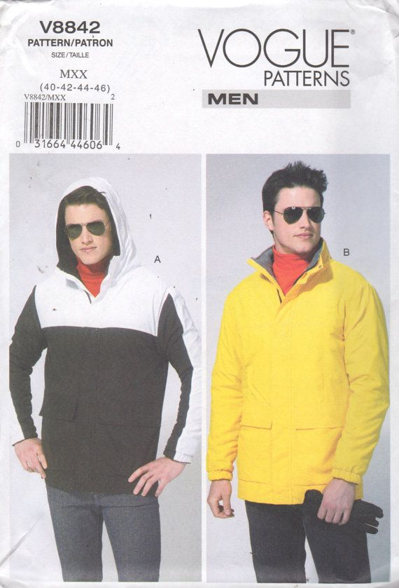 087d0ff4cd953 Vogue 8842 Mens Easy Lined Jacket Pattern Windbreaker Hoodie Denim Nylon  Adult Teen Sewing Pattern Chest 34 36 38 40 OR 40 42 44 46 UNCUT
