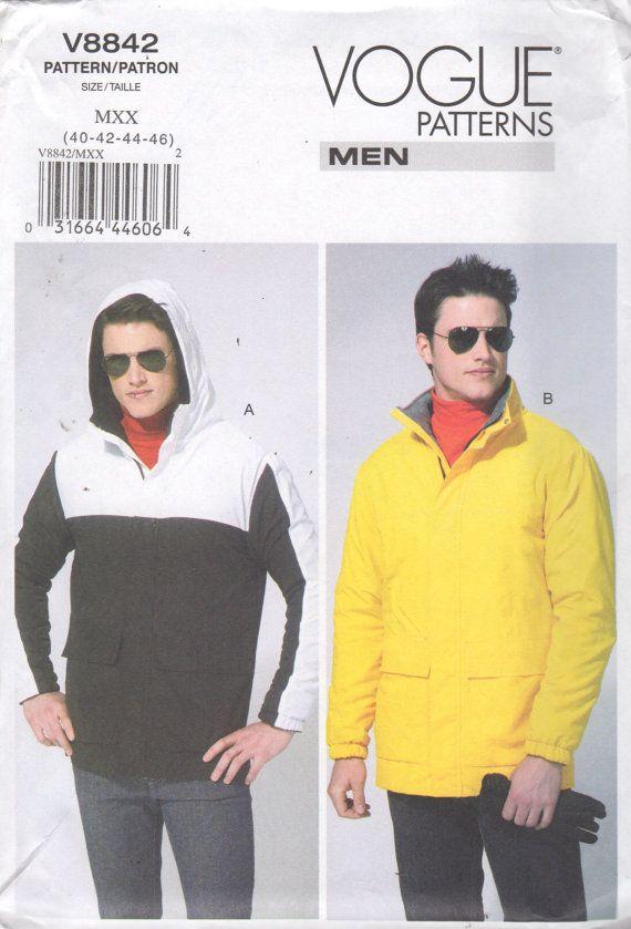 Vogue 8842 Mens Easy Lined Jacket Pattern Windbreaker Hoodie Denim ...