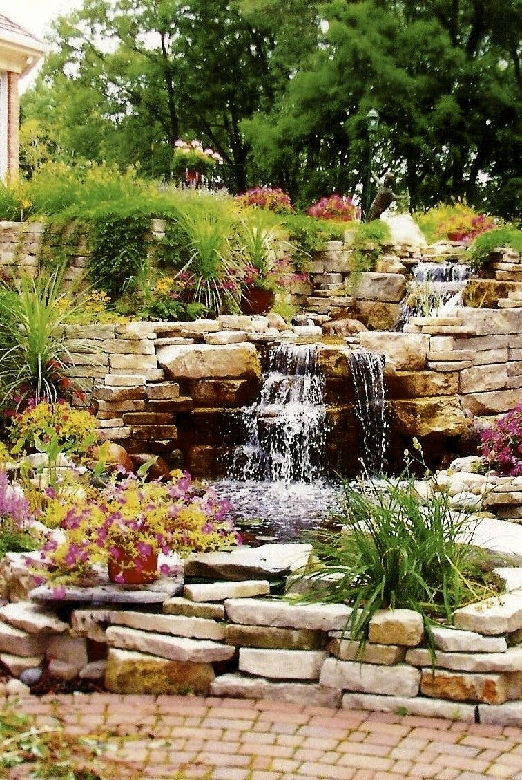 greenery rock and water oh so beautiful waterfeature pond