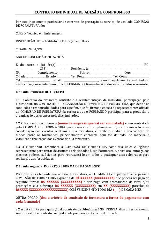 Contrato Individual De Adesao E Compromisso Por Este Instrumento