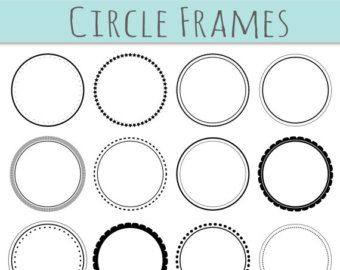 CLIP ART: 12 Digital Scrapbook Frames // Circle Clipart // Decorative Border // Supplies Teachers // Vector // Transparent // Commercial