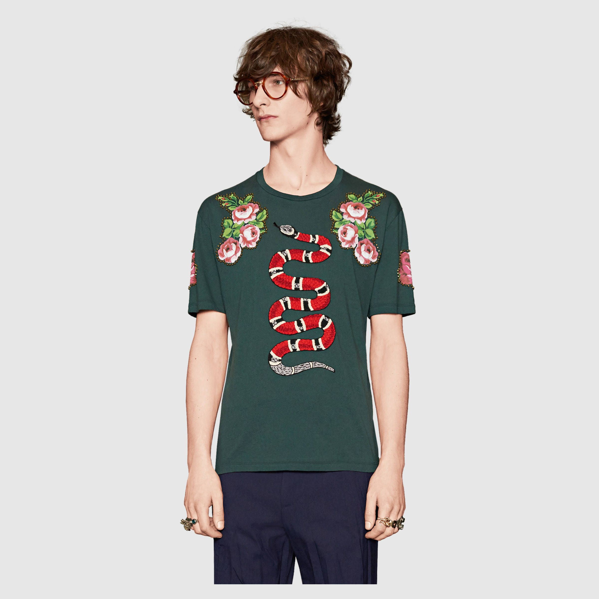 Gucci Homme - T-shirt en coton avec serpent   Fousing   Shirts ... 03ae68554b5
